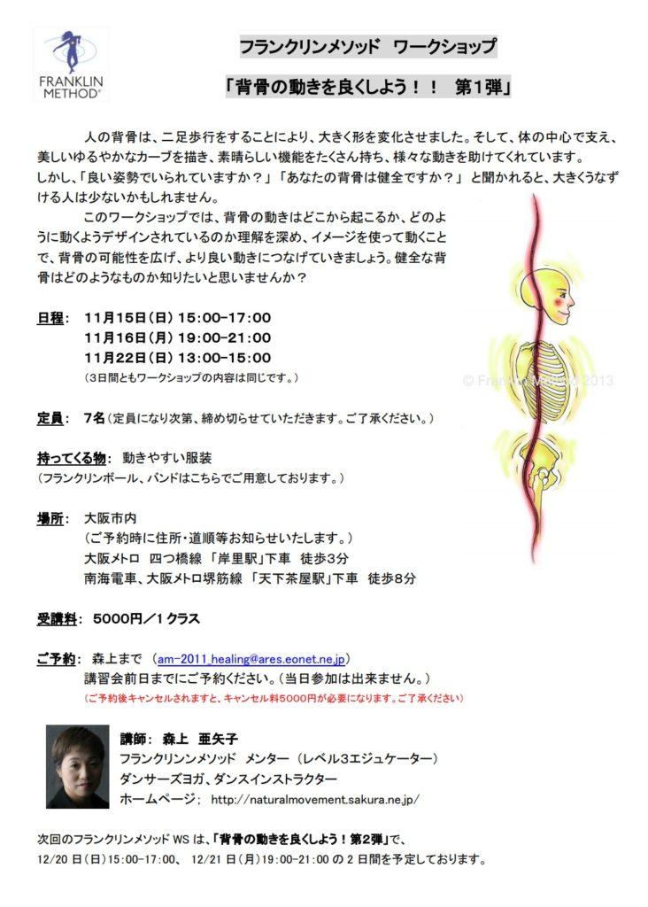 11/15(日)大阪 森上亜矢子WS「背骨の動きを良くしよう!! 第1弾」